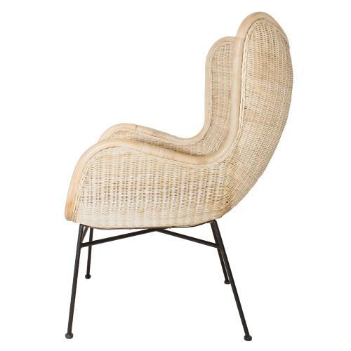 Nasiba KD Rattan Accent Arm Chair Black Legs, Natural