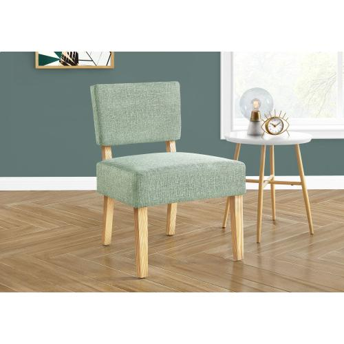 Gallery - ACCENT CHAIR - LIGHT GREEN FABRIC / NATURAL WOOD LEGS