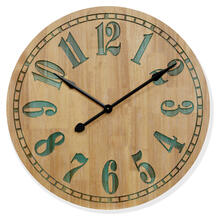 PINE WOOD  32ht X 32w X 3d  Natural Finish Wall Clock with Colored Gel Inlay Numbers and Dial