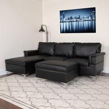 Boylston Upholstered Plush Pillow Back Sectional with Left Side Facing Chaise and Ottoman Set in Black LeatherSoft