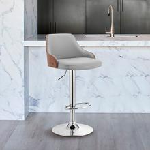 View Product - Asher Adjustable Grey Faux Leather and Chrome Finish Bar Stool
