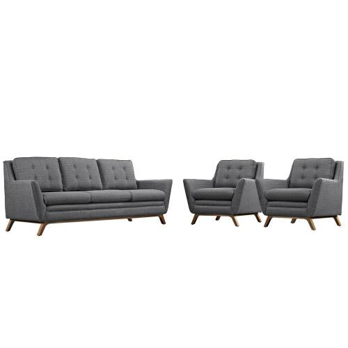 Beguile 3 Piece Upholstered Fabric Living Room Set in Gray