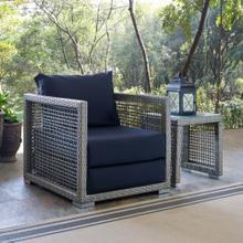Aura Rattan Outdoor Patio Armchair in Gray Navy