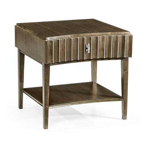 Gatsby Dark Grey Walnut & Stainless Steel Reeded End Table with Undertier