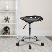 View Product - Vibrant Black Tractor Seat and Chrome Stool