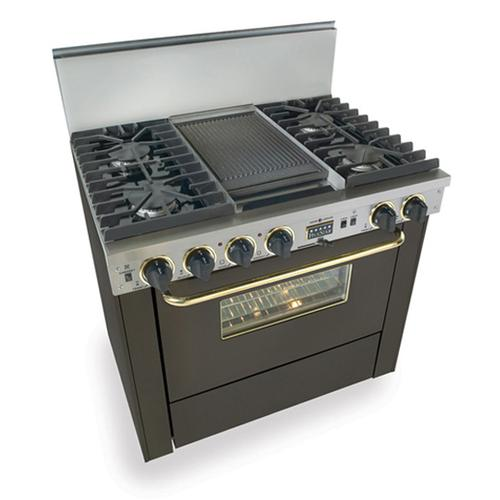 """Five Star - 36"""" Dual Fuel, Convect, Self-Clean, Sealed Burners, Black with Brass"""
