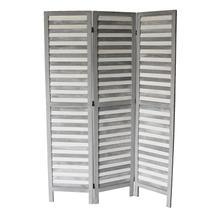 See Details - 7038 GRAY Rustic Shutter 3-Panel Room Divider