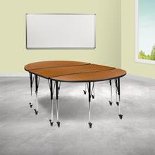 """See Details - 3 Piece Mobile 86"""" Oval Wave Flexible Oak Thermal Laminate Activity Table Set-Standard Height Adjustable Legs"""