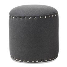 See Details - Baxton Studio Rosine Modern and Contemporary Dark Grey Fabric Upholstered Nail Trim Ottoman