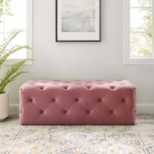 "Amour 48"" Tufted Button Entryway Performance Velvet Bench in Dusty Rose"