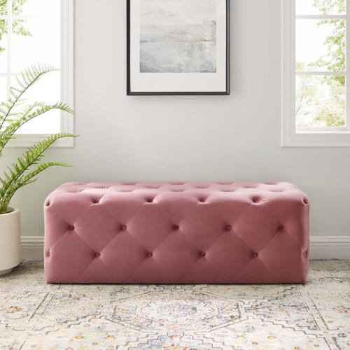 """Amour 48"""" Tufted Button Entryway Performance Velvet Bench in Dusty Rose"""