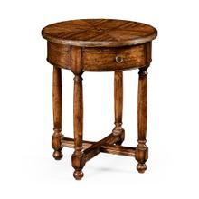 Walnut parquet round side table with contrast inlay