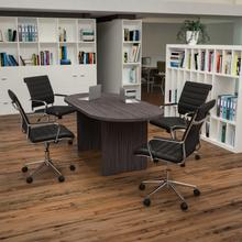 5 Piece Rustic Gray Oval Conference Table Set with 4 Black LeatherSoft Ribbed Executive Chairs