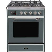 Majestic II 30 Inch Dual Fuel Natural Gas Freestanding Range in Blue Grey with Chrome Trim