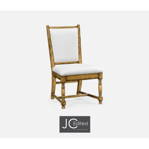 Light Brown Chestnut Country Side Chair, Upholstered in COM