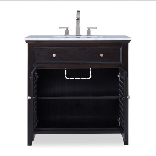 Louvered Sink Chest - Rubbed Raven