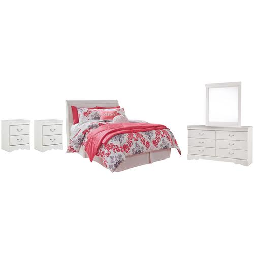 Full Sleigh Headboard With Mirrored Dresser and 2 Nightstands