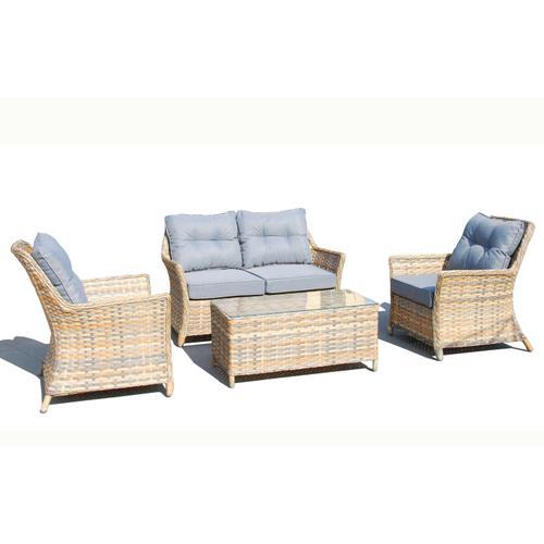 Alfresco Home - Joanie 4 pc Wicker Aluminum Love Seat SetSunbrella Cushion Inclusive