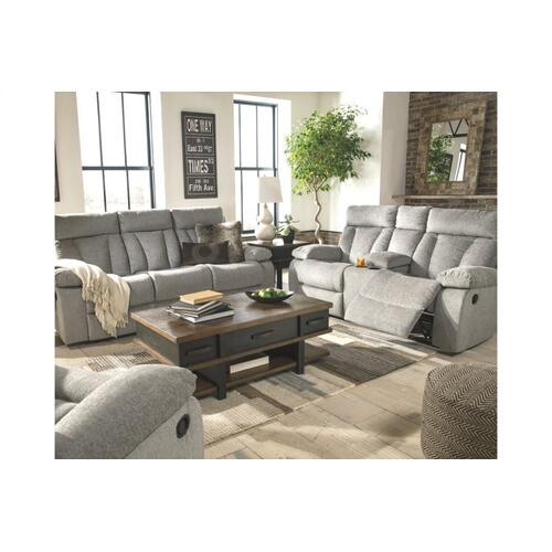 Mitchiner REC Sofa w/Drop Down Table Fog