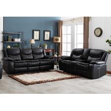 8004 BLACK 2PC Air Leather Power Recliner & USB Sofa SET