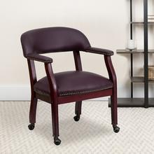 View Product - Burgundy LeatherSoft Conference Chair with Accent Nail Trim and Casters