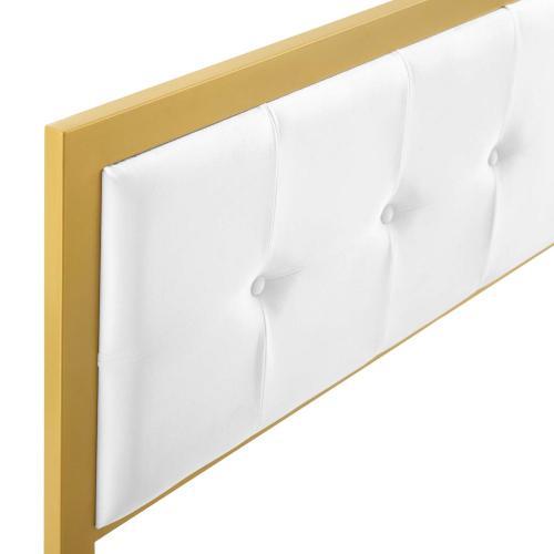 Modway - Teagan Tufted Full Performance Velvet Headboard in Gold White