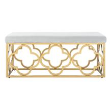 Fleur Rectangle Bench - Grey Velvet / Gold