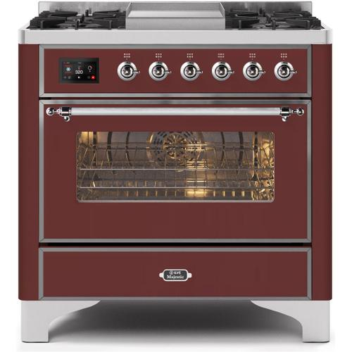 Ilve - Majestic II 36 Inch Dual Fuel Natural Gas Freestanding Range in Burgundy with Chrome Trim