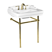 White NEO-VENETIAN Console Lavatory with Polished Brass Metal Finish