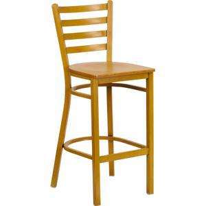 HERCULES Series Natural Woodgrain Ladder Back Metal Restaurant Bar Stool with Natural Wood Seat