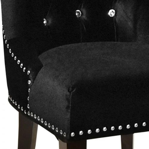 Armen Living Carlyle Tufted Velvet Side Chair with Nailhead Trim