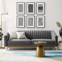 Valiant Vertical Channel Tufted Performance Velvet Sofa in Gray