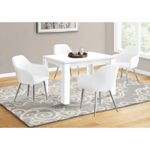 """DINING CHAIR - 2PCS / 33""""H / WHITE LEATHER-LOOK / CHROME"""