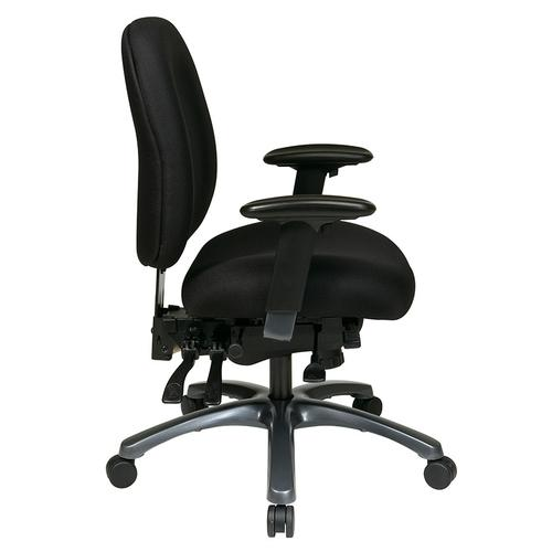 Multi-function Mid Back Chair With Seat Slider and Titanium Finish Base