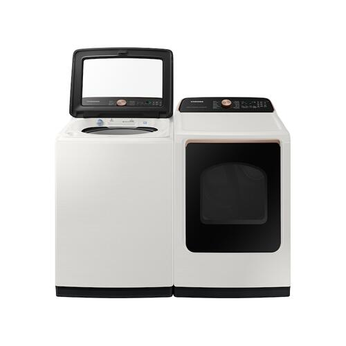 Samsung - 7.4 cu. ft. Smart Electric Dryer with Steam Sanitize+ in Ivory