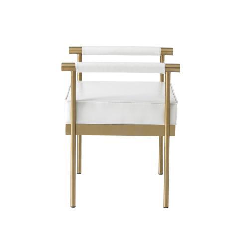 Tov Furniture - Diva White Vegan Leather Bench
