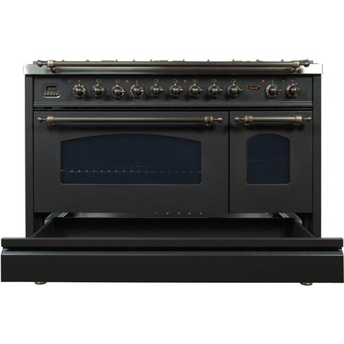Nostalgie 48 Inch Dual Fuel Natural Gas Freestanding Range in Matte Graphite with Bronze Trim