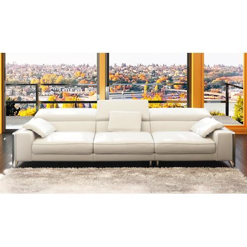 Divani Casa 5060B Modern White Bonded Leather 4-Seater Sofa w/ Ottoman