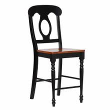 See Details - Napoleon Barstools - Antique Black with Cherry Finish Seats (Set of 2)
