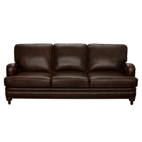 Traditional Stationary Sofa with Brass Nail Head Trim in Espresso