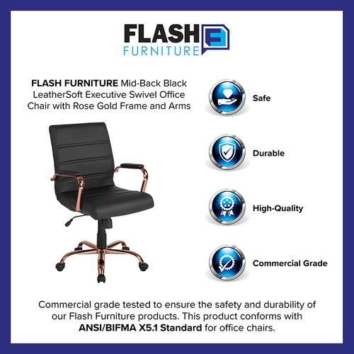 Gallery - Mid-Back Black LeatherSoft Executive Swivel Office Chair with Rose Gold Frame and Arms