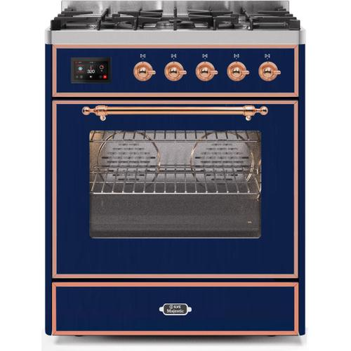 Majestic II 30 Inch Dual Fuel Natural Gas Freestanding Range in Blue with Copper Trim