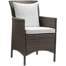 Conduit Outdoor Patio Wicker Rattan Dining Armchair in Brown White