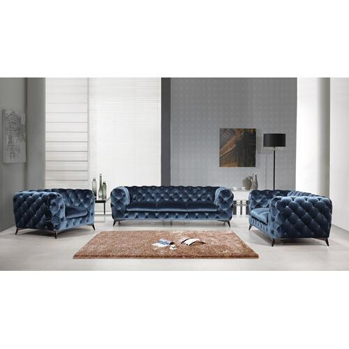 Divani Casa Delilah Modern Blue Fabric Sofa Set
