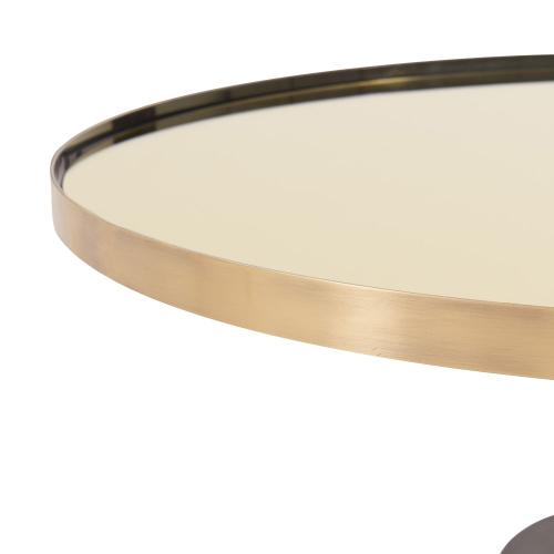 Product Image - Andrea KD Coffee Table Glass Top with Concrete Base, Mirror/ Brushed Gold