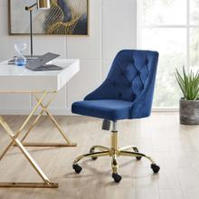 Distinct Tufted Swivel Performance Velvet Office Chair in Gold Navy