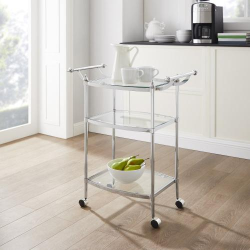 3 Tempered Glass Shelves and Caster Wheels Bar Cart, Silver and Glass