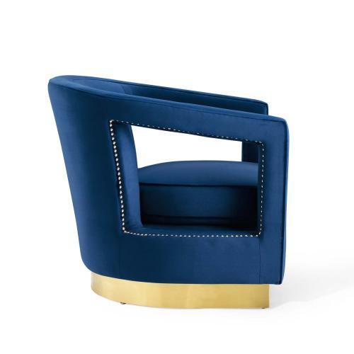 Frolick Performance Velvet Armchair in Navy