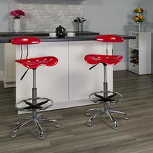 View Product - Vibrant Cherry Tomato and Chrome Drafting Stool with Tractor Seat