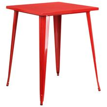 "Commercial Grade 31.5"" Square Red Metal Indoor-Outdoor Bar Height Table"